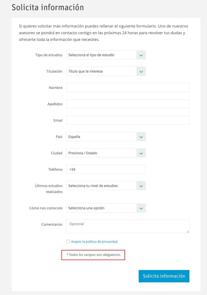 Ejemplo de formulario con mala usabilidad y ux