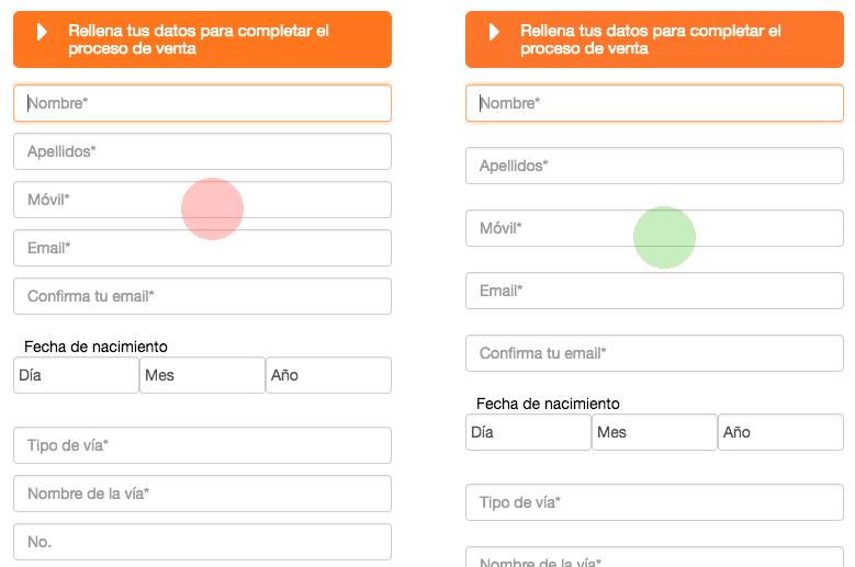 Diferencia entre un formulario web en dispositivos móviles donde no hay espacio de pulsación entre campos y otro que sí.