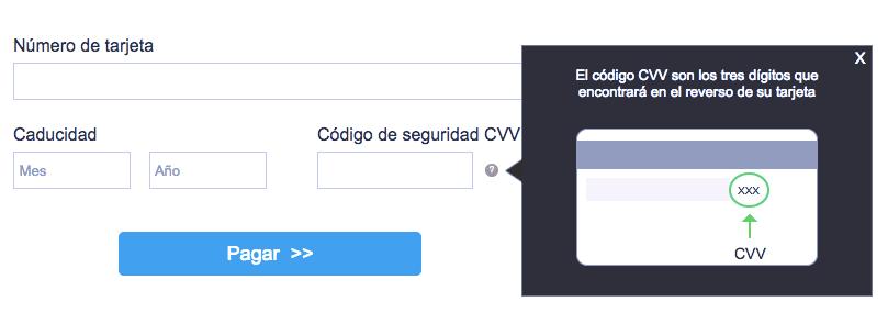 Explicación mediante ventana acerca de lo que es un CVV