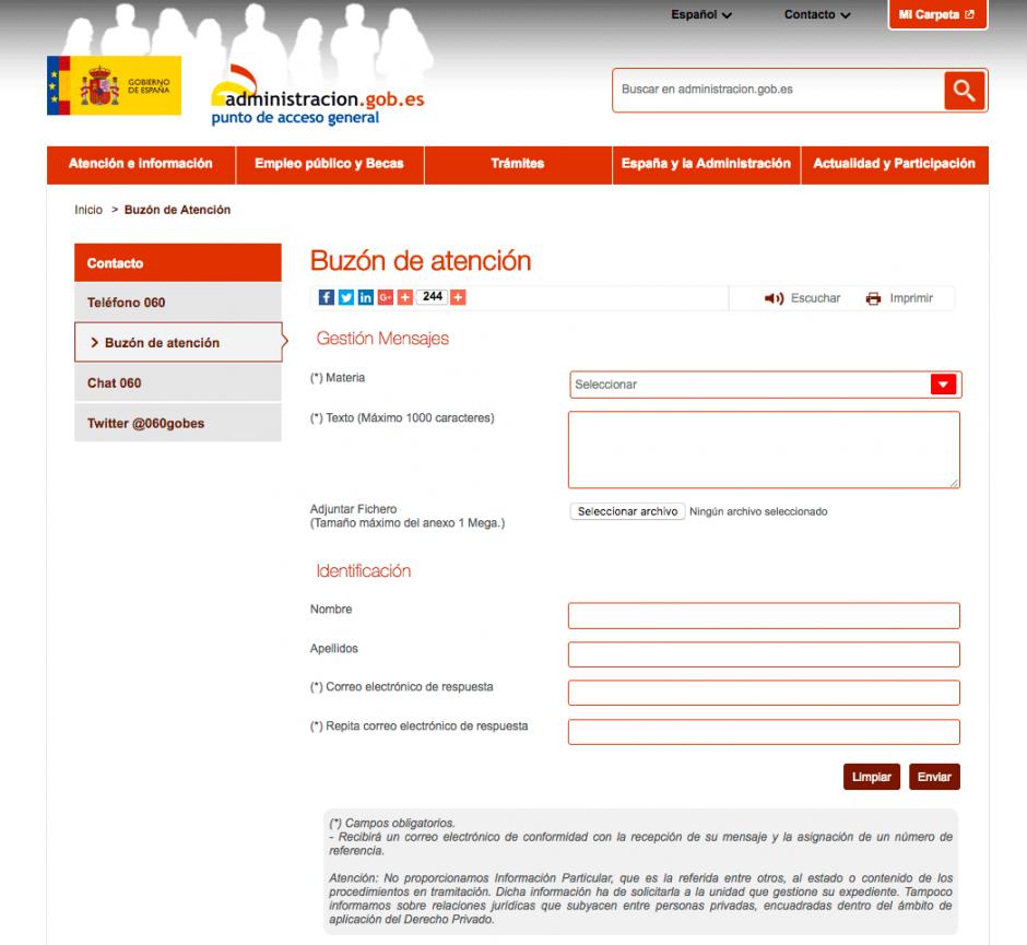 Mala usabilidad y ux en el formulario de atención al ciudadano.