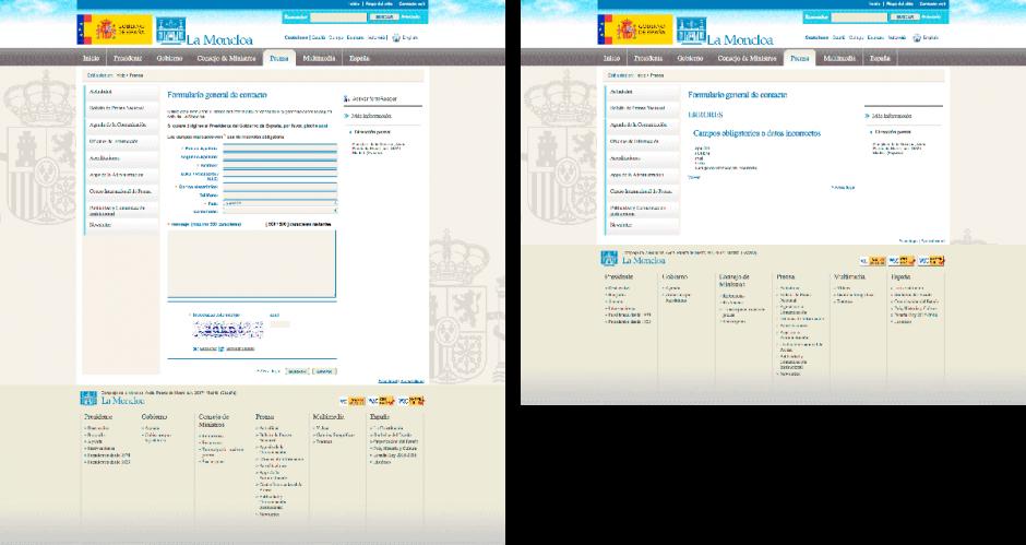 Pésima usabilidad del formulario web de La Moncloa