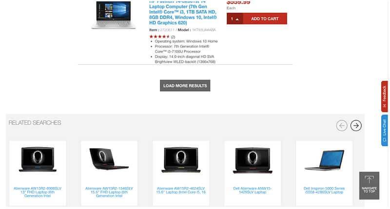 Paginación web mediante el botón Cargar más en la web de Staples.com