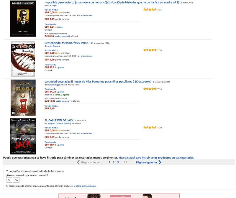 Paginación numerada de Amazon en el año 2017
