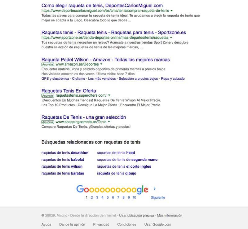 Paginación numerada de Google en sus resultados de búsqueda