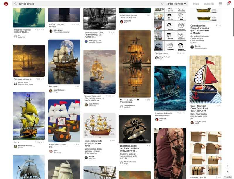 Paginación mediante scroll infinito en Pinterest