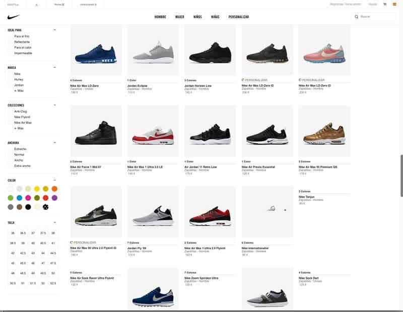 Scroll infinito en la página de Nike
